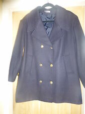 VARIATIONS BLACK WARM LINED DOUBLE FRONTED JACKET GILT BUTTONS WOOL MIX SIZE 18