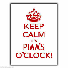 Keep Calm It'S Pimm'S O'Clock Metal Sign Wall Plaque kitchen bar poster print