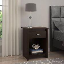 Espresso Nightstand with Drawer & Shelf Bedroom Furniture Bedside Cabinet Table