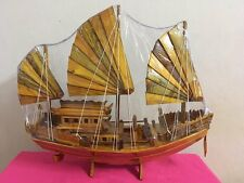 """New listing Wooden Ship Model Boat From temples in Thailand Handmade 20"""""""