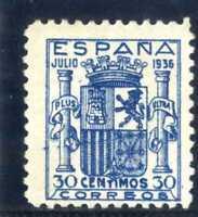 Sellos de España 1936 nº 801 azul Escudo de España certificado Soro Nuevo ref.A1