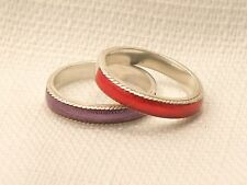 Estate Sterling Silver CNA Purple & Red Enamel Stacking Ring Set Size 9