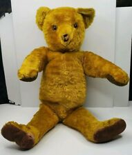 "Antique Golden Straw Filled 19"" Fully Jointed Teddy Bear Glass Eyes Hump Back"