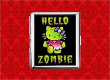 HELLO ZOMBIE KITTY CAT SKULL METAL WALLET CARD CIGARETTE ID IPOD CASE