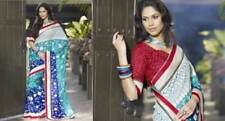 Indian Bollywood saree/sari Designer Pc w contrast blouse pc embroidered  NEW