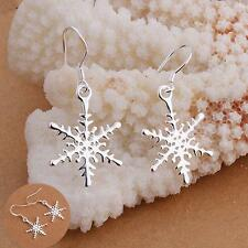 Solid Hook Snowflake Silver Plated Ear Stud Dangle Earring