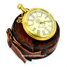 Nautical Brass Necklace Locket Pocket Collectable Clock Watch  With Leather Case