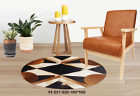New 100% Cowhide Leather Round Rug Cow Skin Patchwork Area Carpet 11237