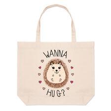 Hedgehog Wanna Hug Large Beach Tote Bag - Love Valentines Day Funny Shoulder