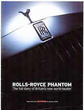 Rolls-Royce Phantom Autocar Launch Supplement 2003 UK Market Sales Brochure