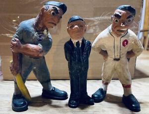 Rare Chalkware  1941 Baseball Rittgers Baseball trio with damage
