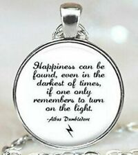 Happiness Can Be Quote Silver Chain Pendant Necklace US SELLER Dumbledore Potter