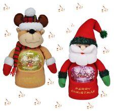 2x Singende Weihnachtsfigur m. beleuchteter Schneekugel Weihnachtsmann & Rentier