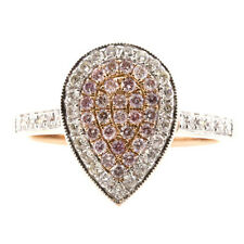 0.60ct Natural Fancy Pink Diamonds Engagement Ring 18K Solid Gold 4G Pear Shape