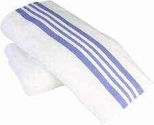 70x90 Bath Blankets White with Blue Stripe Hospital/Home Unbleached