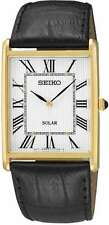 Seiko Men's Solar Leather Strap Watch - Goldtone with Square White Dial SUP880
