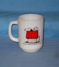 VTG Snoopy I Think I'm Allergic To Mornings Mug Milkglass Fire King Coffee Cup!