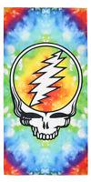 Grateful Dead Steal Your Face Rainbow Tie Dye Banner Silk Touch Bath Beach Towel