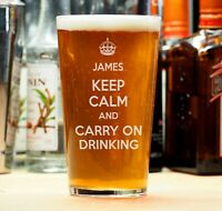Personalised Birthday Beer Lager Pint Glass Keep Calm Carry On Gift Present
