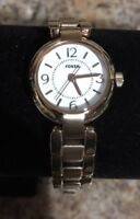 Fossil Womens Rose Gold Watch -Stainless Steel Bracelet Watch White Dial ES2742