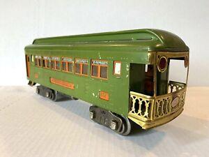 1924 LIONEL LINES PREWAR TRAIN -# 312 OBSERVATION CAR 3-RAIL W/LIGHTS- STD GAUGE