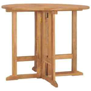 vidaXL Solid Teak Wood Folding Dining Table Patio Outdoor Dinner Desk Garden