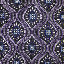 J.Z. RICHARDS Black Lilac Purple GEOMETRIC Handmade Woven Silk Tie EUC