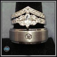 3 Ring HIS Titanium Brush 7mm Victorian Petite 27 AAA CZ 2 Ring Set Size 5-12