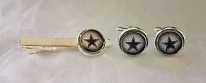 Dallas Cowboys Cufflinks & Tie Clip Set made from Football Cards, Gift for Men
