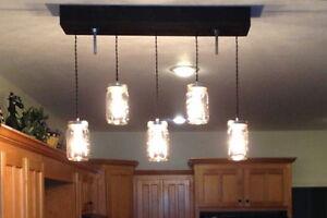 "The ""Breakfast Bar"" Mason Jar Pendant Light with Wooden Canopy"