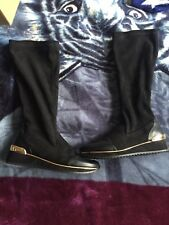 Womens Black Long Boots Size 6.5