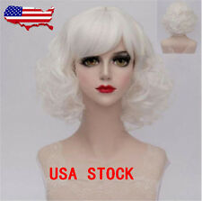 White Short Curly Wigs Fashion Women Lolita Synthetic Cosplay Wig + Wig Cap New