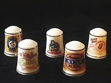 FRANKLIN MINT Country Store Porcelain Vintage Advertising Thimbles (Set of 5)