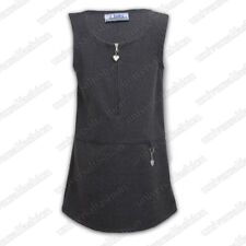 Girls Uniform Kids Pinafore School Wear Dress Sleeveless Zip Front Grey Black