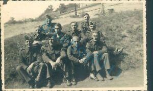 WW2 British Prisoners of War POW's Sat Outside in sun Photo Stalag XXI D Poland