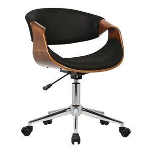 Armen Living Geneva Office Chair, Chrome/Black/Walnut Veneer - LCGEOFCHBLACK