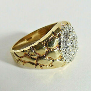 VINTAGE MEN'S NUGGET 10K SOLID GOLD VG DIAMOND RING 7.12gr SZ: 10.25