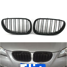 Pair of Gloss Black Dual Slat Grilles Grill For BMW E60 E61 M5 5 Series 2003-09