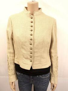 RALPH LAUREN Designer Blazer Gr.14 40/42 Jacke Jacket 100% Leinen Beige Vanille