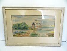Vintage Original Signed Windmill Stone Artwork Landscape Watercolor Painting