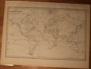 "1856 Black's World Projection with Magnetic Curves - Map 17.2"" x 12.6"""