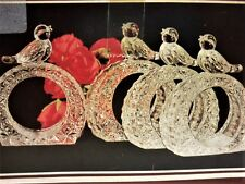 HOFBAUER Crystal Napkin Rings Singing Bird BYRDES Collection Germany Set of 4