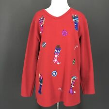 Christmas Top M Red Christmas Stockings Tunic KAREN SCOTT Pullover Sweatshirt