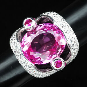 PLATINUM PINK TOPAZ RING OVAL 25.40 CT.RUBY SAPPHIRE 925 STERLING SILVER SZ 6.75