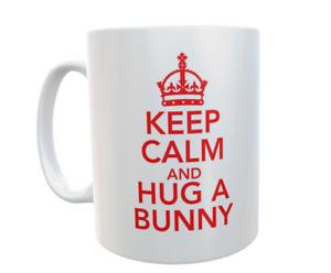 Bunny Mug Keep Calm And Hug A Bunny Novelty Retro Cute Cup Owner Gift Present