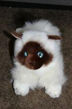 "soft fluffy Aurora Himalayan Siamese CAT Kitten 12"" Plush Stuffed Animal Cute"