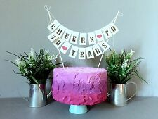 30 th Compleanno urrà CAKE TOPPER MINI Bunting Banner TOPPING SHABBY VINTAGE