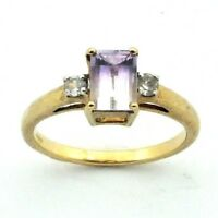 Ladies/womens, 9ct/9carat gold ring with amethyst and diamond, UK size N
