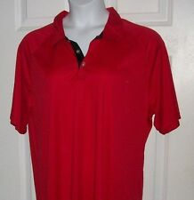 RED POLO SHIRT BLOUSE A4 SMALL short sleeve SPLIT HIP SOFT RIBBED TEXT TOP NWT