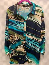 Susan Graver Button Front Green Blue Long Sleeve Top Women's Size L